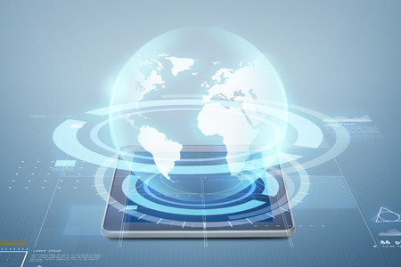 electronics, technology, network and modern gadget concept - tablet pc computer with globe virtual projection above screen over blue background Stock Photo