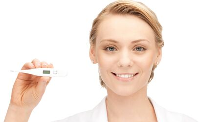 quicksilver: picture of attractive female doctor with thermometer
