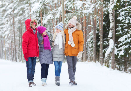 relationship: love, relationship, season, friendship and people concept - group of smiling men and women walking and talking in winter forest