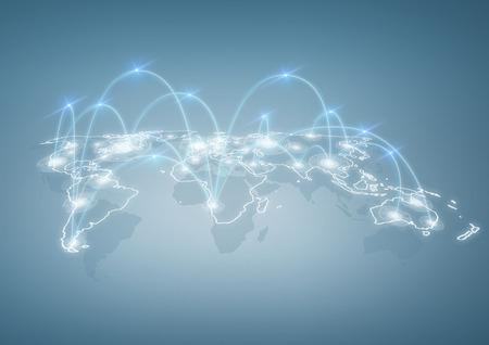 Commercio internazionale, la tecnologia e il concetto di social networking - illustrazione di mappa del mondo con connessioni digitali tra le città Archivio Fotografico - 36043425