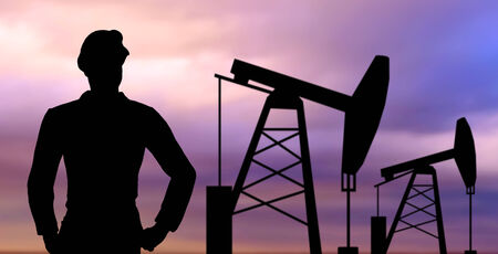 oilfield: industry, oilfield, people and development concept - black silhouette of oil worker and pump jack