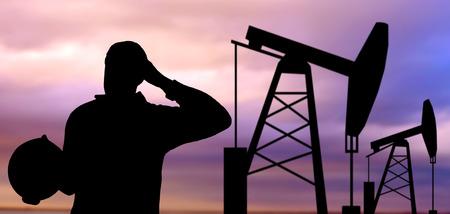 trabajador petrolero: industria, del campo petrolífero, la gente y el concepto de desarrollo - negro silueta de trabajador petrolero y gato de bomba