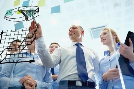ビジネス、人々、チームワークと計画コンセプト - ビジネス チーム事務所の掲示板に円グラフを描画マーカーに笑みを浮かべて