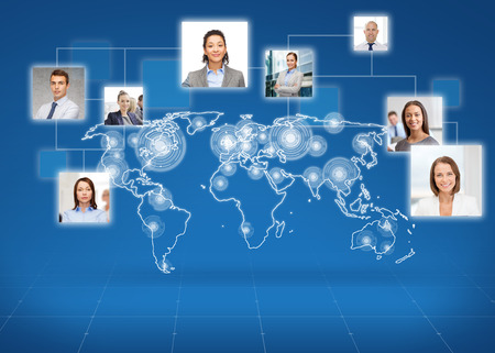 american media: business, people, social network and head hunting concept - pictures of businesspeople over world map and blue background