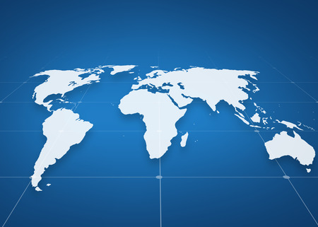 global business, geography and technology concept - virtual world map projection over blue background