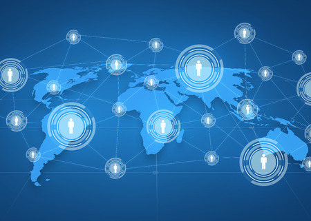 global business, social network, mass media and technology concept - world map projection with people icons over blue background
