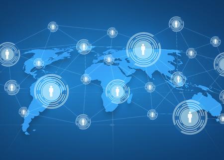 demografia: negocio global, red social, medios de comunicaci�n y concepto de la tecnolog�a - proyecci�n de mapa del mundo con iconos de personas sobre fondo azul