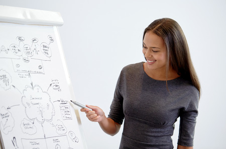 business and people concept - smiling businesswoman pointing marker to flipboard on presentation in office