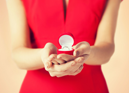 proposal: bright picture of woman showing wedding ring Stock Photo