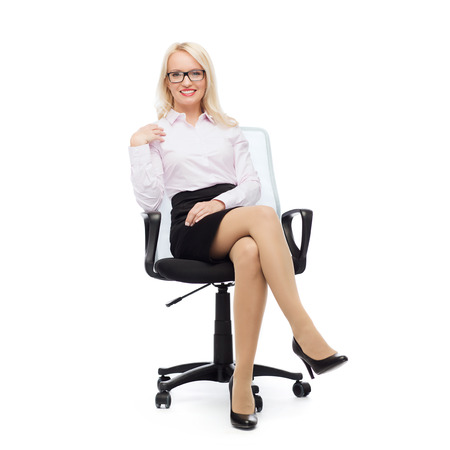 secretary skirt: business, style and people concept - smiling businesswoman, student or secretary over white background