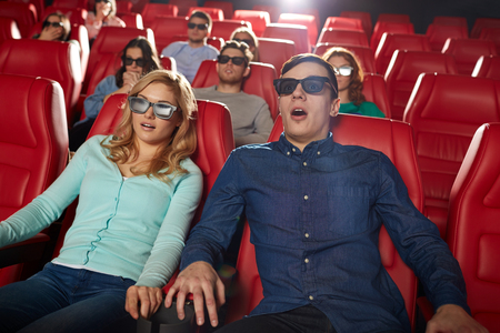 thriller: cinema, technology, entertainment and people concept - friends with 3d glasses watching horror or thriller movie in theater Stock Photo