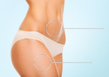 Women Cellulite: cerca de las caderas de la mujer y el torso con lupa sobre fondo azul