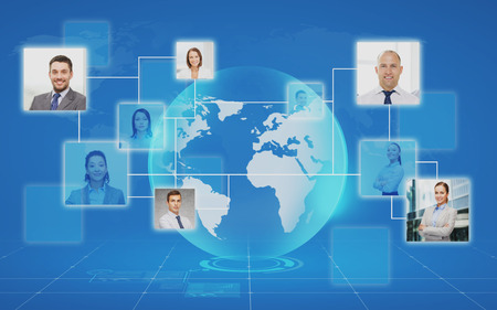 job hunting: pictures of business people over world map and blue background Stock Photo