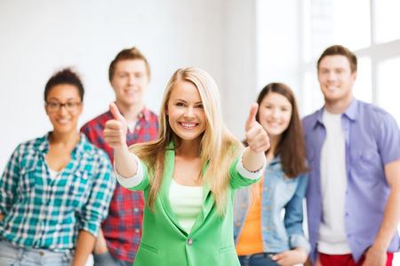 groep studenten op school Stockfoto