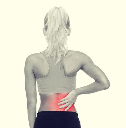 masaje deportivo: fitness, salud y la medicina concepto - mujer deportiva tocarla de nuevo