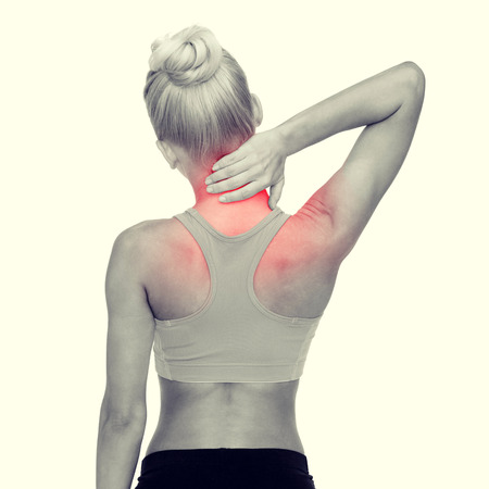 arm pain: fitness, healthcare and medicine concept - sporty woman touching her neck