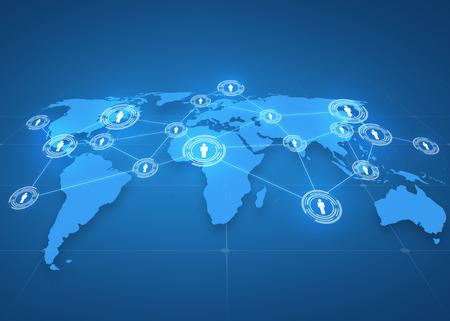 business globale, rete sociale, i mass media e il concetto di tecnologia - mappa del mondo di proiezione con icone di persone su sfondo blu