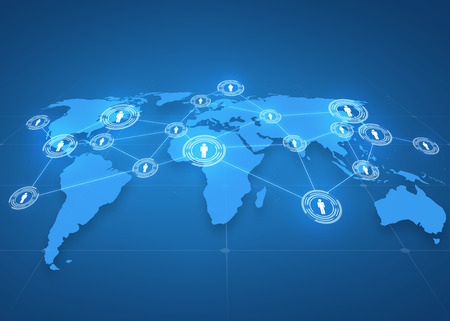 negocio global, red social, medios de comunicación y concepto de la tecnología - proyección de mapa del mundo con iconos de personas sobre fondo azul