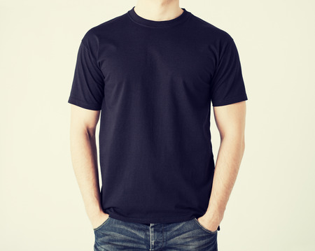 shirt: close up of man in blank t-shirt