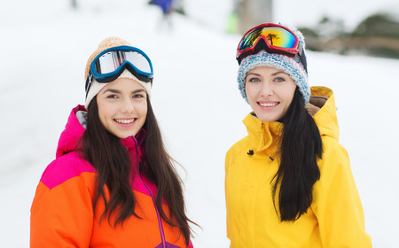 happy girl friends in ski goggles outdoors photo