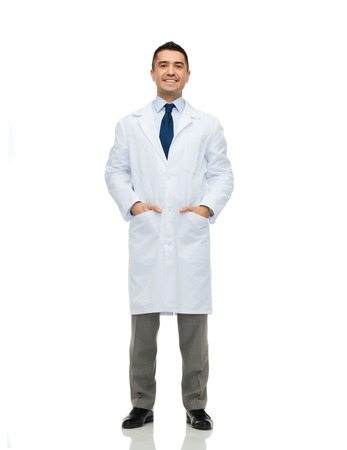 lab coats: healthcare, profession, people and medicine concept - smiling male doctor in white coat