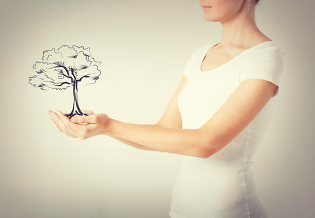 commercial tree care: environment, ecology and nature protection concept - woman with small tree in her hands
