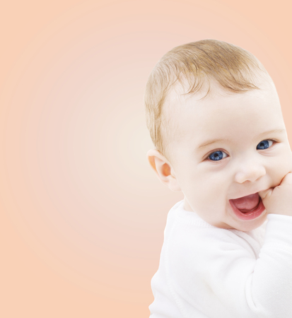 parent with child: child, people and happiness concept - adorable baby boy Stock Photo