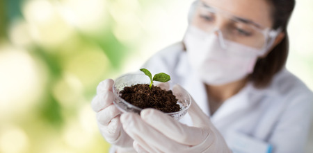 discovering: science, biology, ecology, research and people concept - close up of young female scientist wearing protective mask holding petri dish with plant and soil sample over green background