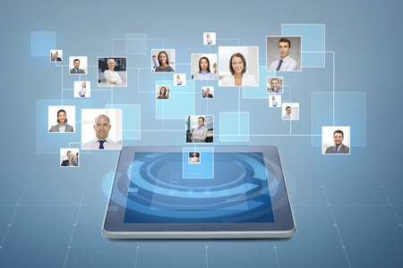 business, people, social network and head hunting concept - pictures of businesspeople over tablet pc computer and blue background