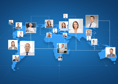 co workers: business, people, social network and head hunting concept - pictures of businesspeople over world map and blue background
