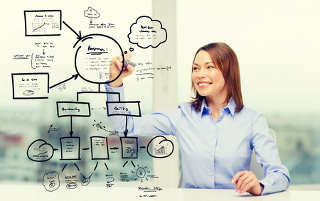 research worker: office, business, technology concept - businesswoman drawing big plan on virtual screen