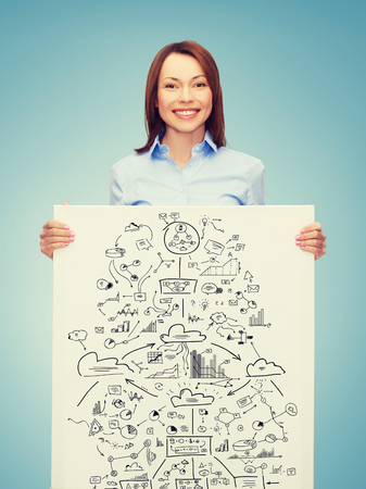 collegue: business, economics and education concept - friendly young smiling businesswoman with big plan on white board