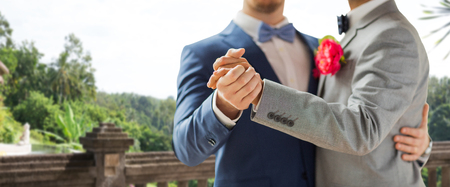 same sex: people, homosexuality, same-sex marriage and love concept - close up of happy male gay couple holding hands and dancing on wedding over balcony and nature background Stock Photo