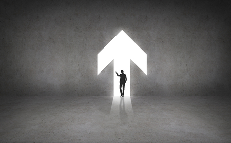 busiess and office concept - silhouette if businesswoman in the arrow photo