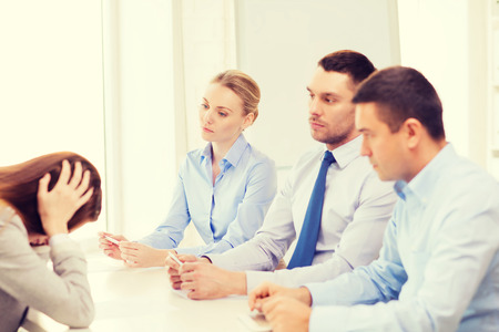 committee: business, career and office concept - businesswoman getting fired in office