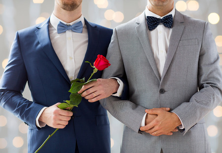people, homosexuality, same-sex marriage and love concept - close up of happy male gay couple with red rose flower holding hands on wedding  over holidays lights background Banque d'images