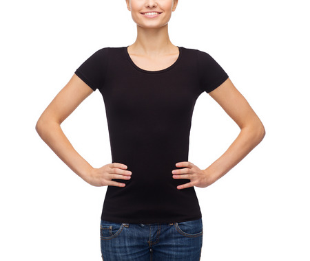 cute teen girl: t-shirt design concept - smiling woman in blank black t-shirt