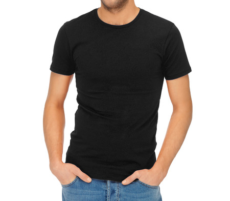 man t shirt: clothing design concept - handsome man in blank black t-shirt