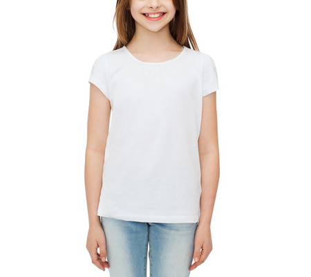 teenage girl happy: advertising and t-shirt design concept - smiling little girl in white blank t-shirt over white background