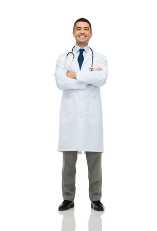 doctor care: healthcare, profession, people and medicine concept - smiling male doctor in white coat