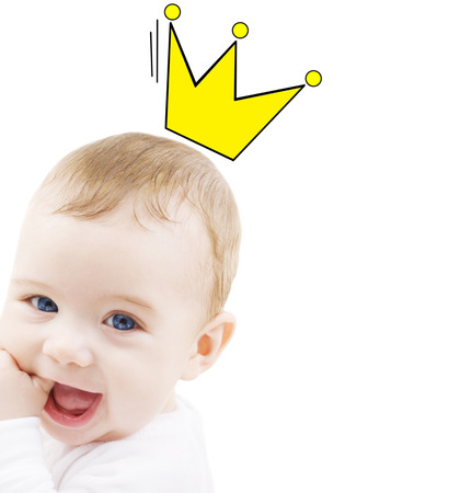 people, childhood, royalty and happiness concept - close up of happy smiling baby with crown doodle