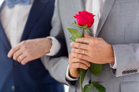 sex: mensen, homoseksualiteit, het huwelijk en de liefde van hetzelfde geslacht concept - close-up van gelukkige mannelijke homo paar met rode roos bloem hand in hand op bruiloft