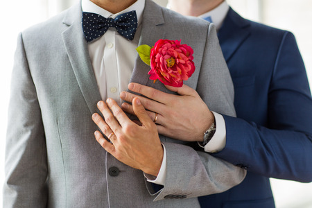 people, homosexuality, same-sex marriage and love concept - close up of happy married male gay couple in suits with buttonholes and bow-ties on wedding 스톡 콘텐츠