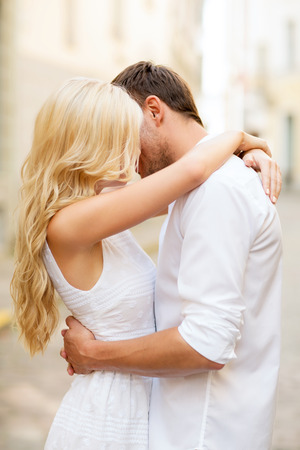 summer holidays and dating concept - couple in the city Stock Photo