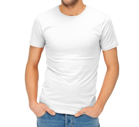 clothing design and hapy people concept - handsome man in blank white shirt
