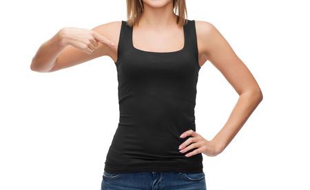 t シャツ デザイン、幸せな人々 のコンセプト - 空白の黒タンクトップの女性の笑顔