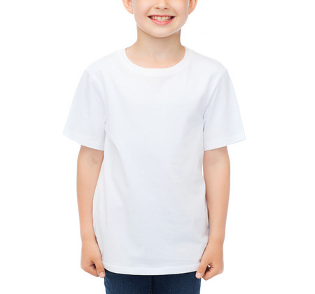 pre adolescent boy: advertising, people, childhood and t-shirt design concept - smiling little boy in white blank t-shirt over white background Stock Photo