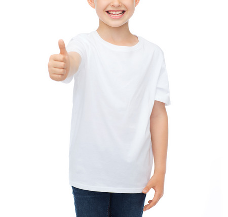 pre approval: t-shirt design, childhood and happy people concept - smiling little boy in blank white t-shirt showing thumbs up