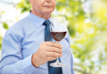 degustating: profession, winery, drinks, holidays and people concept - close up of senior man holding glass with red wine over green leaves background
