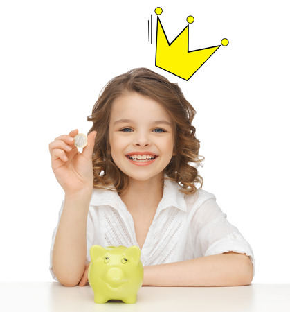 royalty: people, royalty, finances and childhood concept - smiling girl with piggy bank and euro coin and crown doodle over head